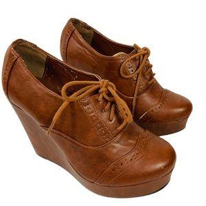 Charlotte Russe Brown Vegan Leather Platform Shoes